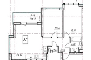 ЖК Manhattan (Манхеттен): планировка 2-комнатной квартиры 61.64 м²