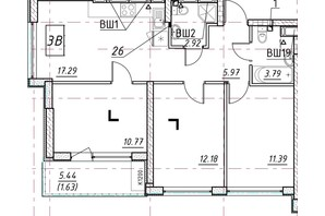 ЖК Manhattan (Манхеттен): планировка 3-комнатной квартиры 65.12 м²