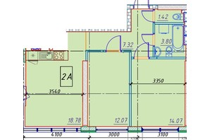 ЖК Manhattan (Манхеттен): планировка 2-комнатной квартиры 59.94 м²