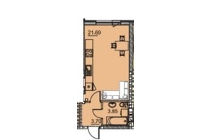 ЖК Manhattan (Манхеттен): планировка 1-комнатной квартиры 30.2 м²