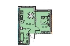 ЖК Manhattan (Манхеттен): планировка 1-комнатной квартиры 28.43 м²