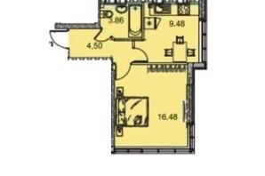 ЖК Manhattan (Манхеттен): планировка 1-комнатной квартиры 35.28 м²