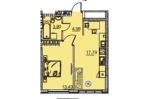 ЖК Manhattan (Манхеттен): планировка 1-комнатной квартиры 41.51 м²
