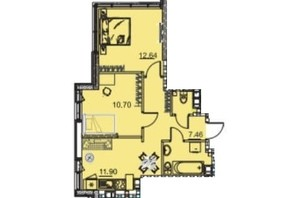 ЖК Manhattan (Манхеттен): планировка 2-комнатной квартиры 65.87 м²