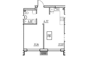 ЖК Manhattan: планування 1-кімнатної квартири 36.23 м²
