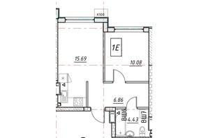 ЖК Manhattan: планування 1-кімнатної квартири 37.07 м²