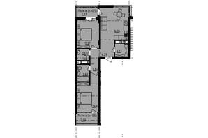 ЖК Manhattan: планування 2-кімнатної квартири 54.9 м²
