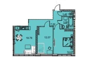 ЖК Manhattan: планування 2-кімнатної квартири 59.94 м²