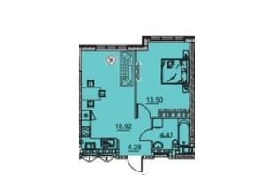 ЖК Manhattan: планування 1-кімнатної квартири 42.37 м²