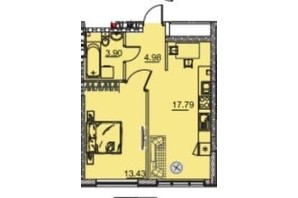 ЖК Manhattan: планування 1-кімнатної квартири 41.51 м²