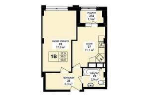 ЖК Манхэттен: планировка 1-комнатной квартиры 40.5 м²