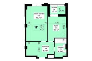 ЖК Манхэттен: планировка 1-комнатной квартиры 41.1 м²