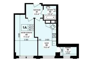ЖК Манхэттен: планировка 1-комнатной квартиры 42.1 м²