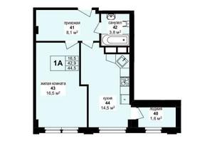 ЖК Манхэттен: планировка 1-комнатной квартиры 44.5 м²