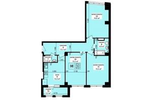 ЖК Манхэттен: планировка 3-комнатной квартиры 81.4 м²