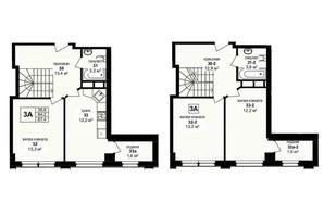 ЖК Манхэттен: планировка 3-комнатной квартиры 87.4 м²