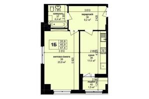 ЖК Манхэттен: планировка 1-комнатной квартиры 47.4 м²