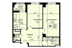 ЖК Манхэттен: планировка 2-комнатной квартиры 67.8 м²