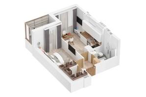 ЖК Маріїнський: планування 1-кімнатної квартири 37.28 м²