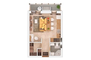 ЖК Маріїнський: планування 1-кімнатної квартири 31.09 м²