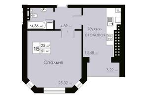 ЖК Марко Поло: планування 1-кімнатної квартири 51 м²