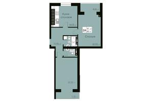 ЖК Марко Поло: планировка 2-комнатной квартиры 82 м²