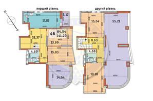 ЖК Медовый-2: планировка 4-комнатной квартиры 141.29 м²