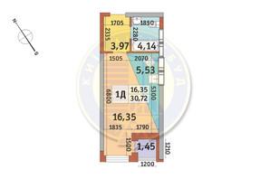 ЖК Медовый-2: планировка 1-комнатной квартиры 30.72 м²