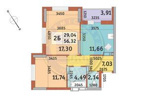 ЖК Медовый-2: планировка 2-комнатной квартиры 56.32 м²