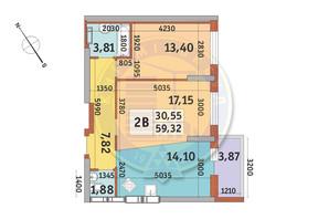 ЖК Медовый-2: планировка 2-комнатной квартиры 59.32 м²