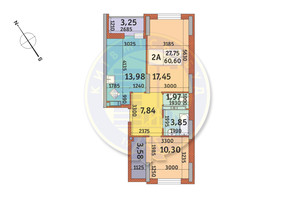 ЖК Медовый-2: планировка 2-комнатной квартиры 60.6 м²