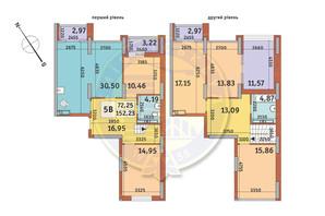 ЖК Медовый-2: планировка 5-комнатной квартиры 152.23 м²