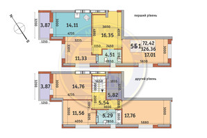 ЖК Медовый-2: планировка 5-комнатной квартиры 126.36 м²