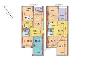 ЖК Медовый-2: планировка 6-комнатной квартиры 151.43 м²