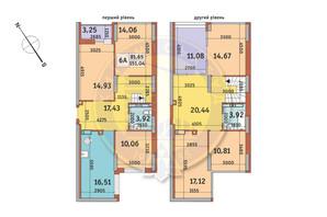 ЖК Медовый-2: планировка 6-комнатной квартиры 151.04 м²
