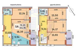 ЖК Медовый-2: планировка 5-комнатной квартиры 114.91 м²