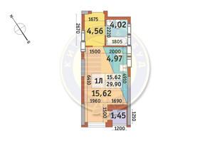 ЖК Медовый-2: планировка 1-комнатной квартиры 29.9 м²