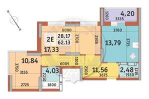 ЖК Медовый-2: планировка 2-комнатной квартиры 62.13 м²