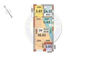 ЖК Медовый-2: планировка 1-комнатной квартиры 30.87 м²