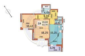 ЖК Медовый-2: планировка 2-комнатной квартиры 62.7 м²
