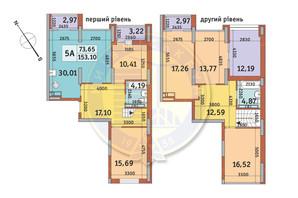 ЖК Медовый-2: планировка 5-комнатной квартиры 153.1 м²