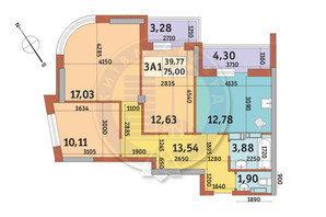ЖК Медовий-2: планування 3-кімнатної квартири 75 м²