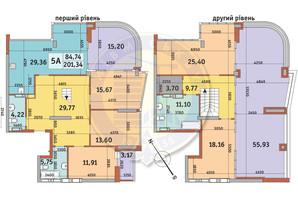 ЖК Медовий-2: планування 5-кімнатної квартири 201.34 м²