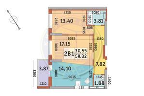 ЖК Медовий-2: планування 2-кімнатної квартири 59.32 м²
