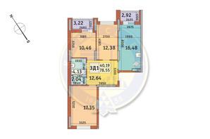 ЖК Медовий-2: планування 3-кімнатної квартири 78.55 м²