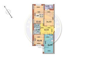 ЖК Медовий-2: планування 3-кімнатної квартири 78.02 м²
