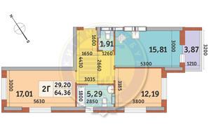 ЖК Медовий-2: планування 2-кімнатної квартири 64.36 м²