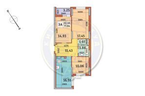 ЖК Медовий-2: планування 3-кімнатної квартири 77.84 м²