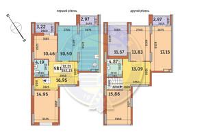 ЖК Медовий-2: планування 5-кімнатної квартири 152.23 м²
