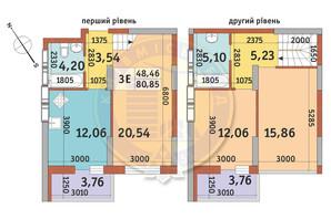 ЖК Медовий-2: планування 3-кімнатної квартири 80.85 м²